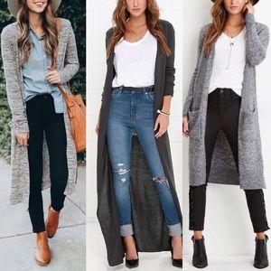 Dark Grey Long Cardigan Sweater